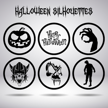 obscurity: Halloween silhouettes in circle on a gray background Illustration