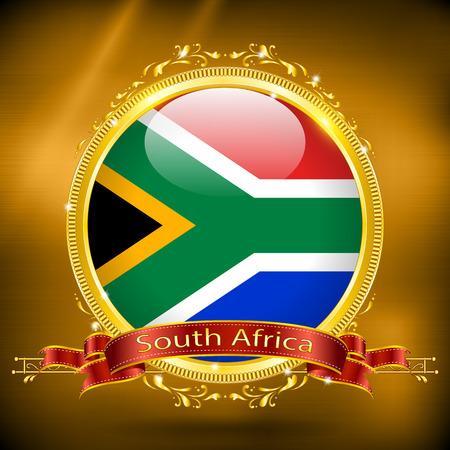 gilding: Flag of South Africa in GOLD, vector illustration Illustration