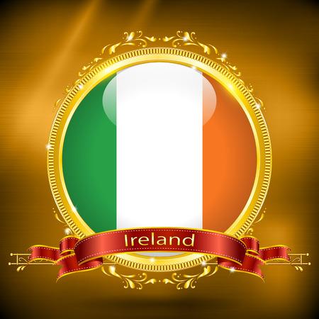 ireland flag: Flag of Ireland in GOLD, vector illustration