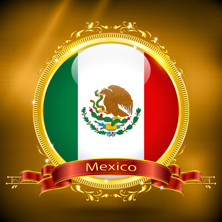 gilding: Flag of Mexico in GOLD, vector illustration
