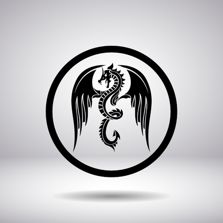 flying dragon: Dragon silhouette in a circle, vector illustration
