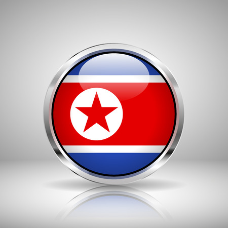 korea: Flag of North Korea in chrome, vector illustration Illustration