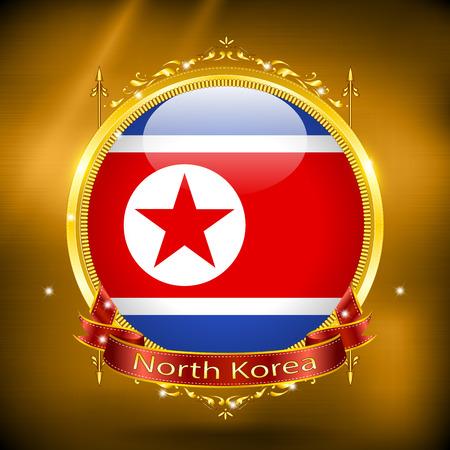 gilding: Flag of North Korea in GOLD, vector illustration