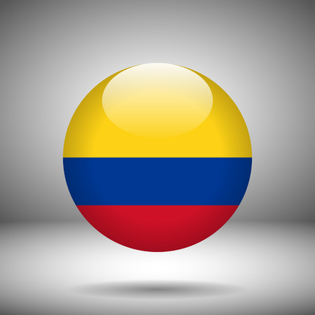 columbia: Round flag of Columbia on a gray background, vector illustration Illustration