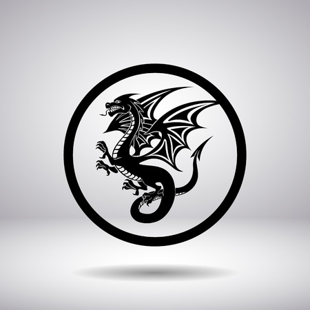 dragon head: Dragon silhouette in a circle, vector illustration