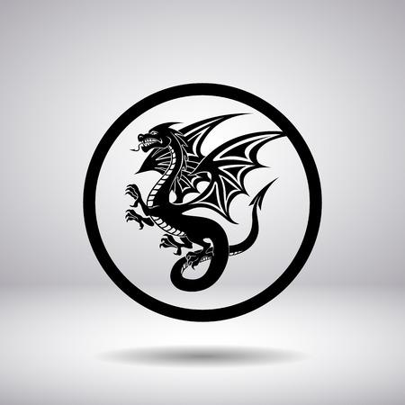 circular silhouette: Dragon silhouette in a circle, vector illustration