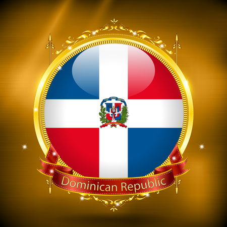 gilding: Flag of Dominican Republic in GOLD, vector illustration