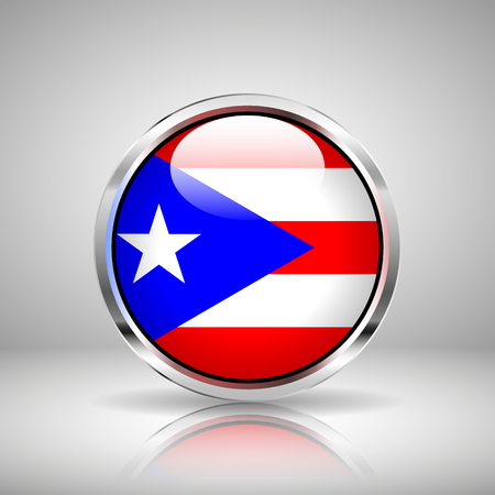 puertorico: Flag of Puerto-Rico in chrome, vector illustration Illustration