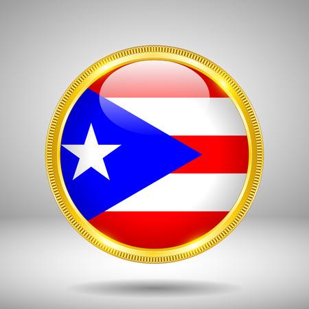 puertorico: Flag of Puerto-Rico in GOLD, vector illustration Illustration