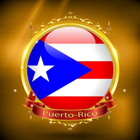 gilding: Flag of Puerto-Rico in GOLD, vector illustration Illustration