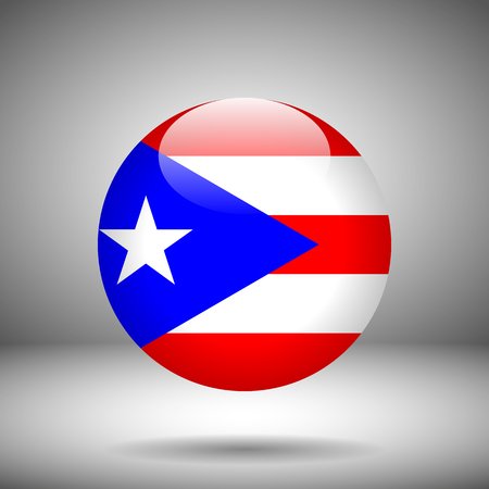 puertorico: Round flag of Puerto-Rico on a gray background, vector illustration