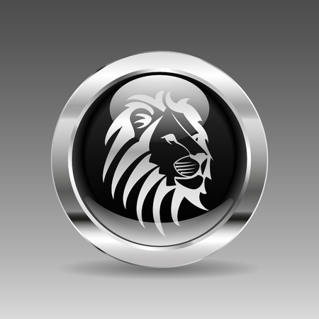 3d lion: Black glossy chrome button - Lion head, vector illustration