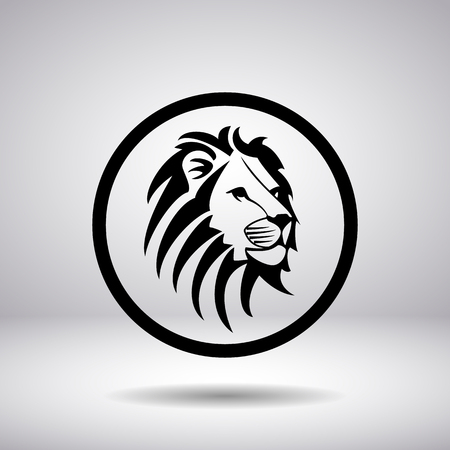 standing lion: Silhouette of a lions head in a circle, vector illustration Illustration