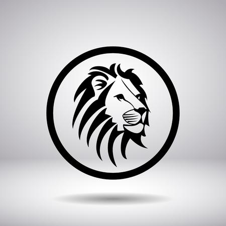 silueta tigre: Silueta de una cabeza de león en un círculo, ilustración vectorial Vectores