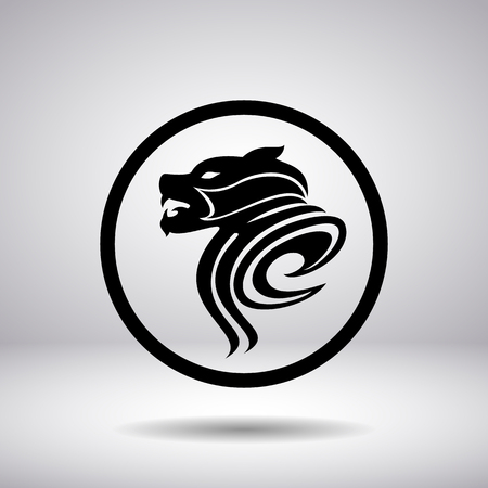 feline: Silhouette of the dogs head in a circle, vector illustration