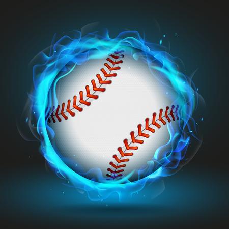 blue flame: Baseball ball in blue flame, vector illustration