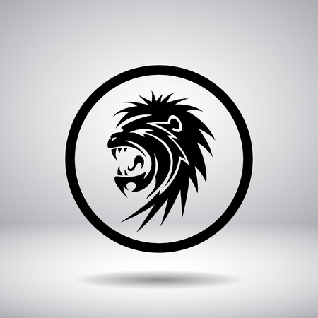 snarling: Silhouette snarling lion in a circle, vector illustration Illustration