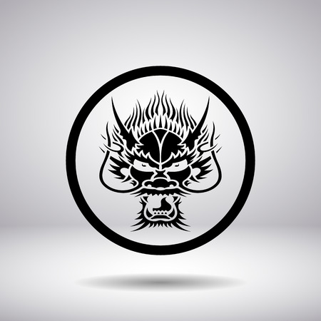 dragon head: Dragon head silhouette in a circle, vector illustration