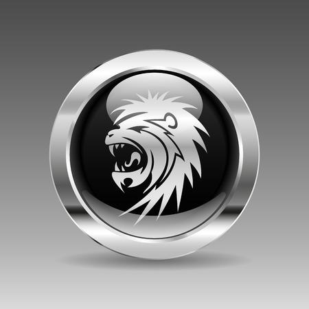 snarling: Black glossy chrome button - snarling lion, vector illustration Illustration