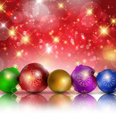 sparkling: Multi-colored Christmas balls on red sparkling background, vector illustration Illustration