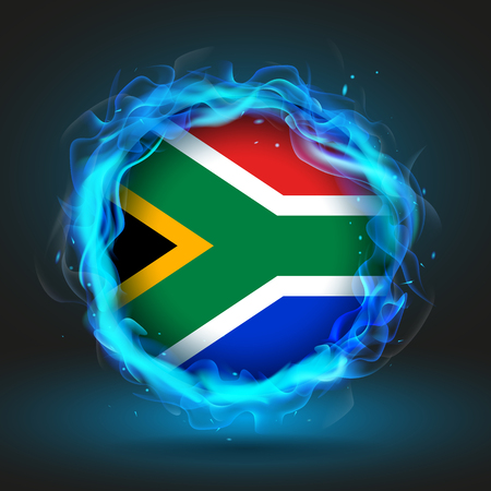 country flags: Flag of South Africa in blue flame, vector illustration