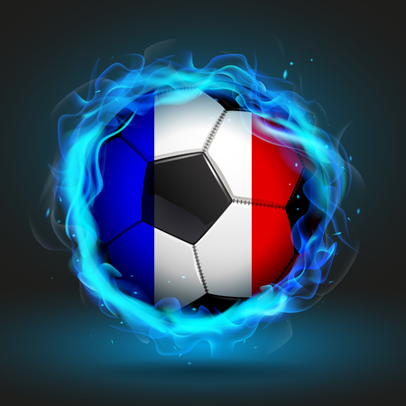 blue flame: Soccer ball Flag of France in a blue flame, vector illustration