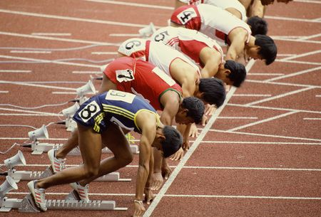 A group of runners in ready position for the competition. Stock Photo - 202511