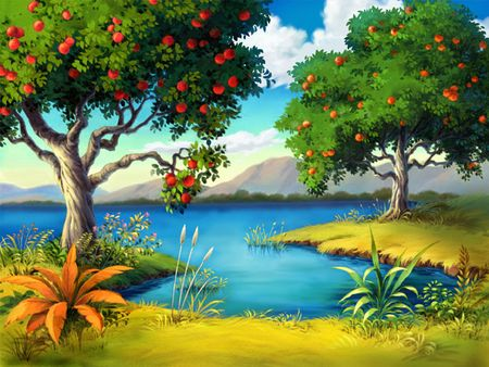 riverbank: Two fruit trees on the riverbank.