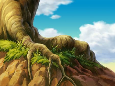 A huge tree growing on a cliff. Stock Photo - 202619