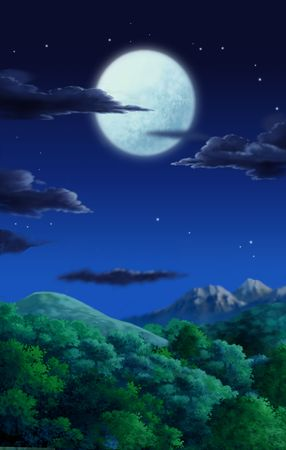 A full moon overlooking the forest at night. Stock Photo - 202624
