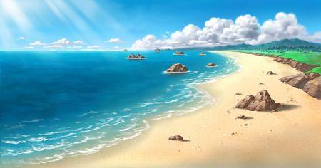 An illustration of a beach with rock structures. Stock Illustration - 202703