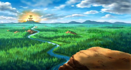 An illustration of a forest from the peak of a mountain. Stock Illustration - 202708