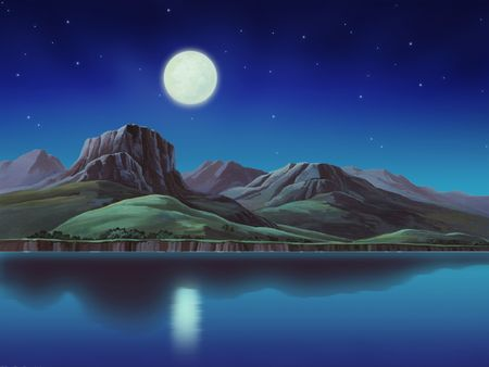 An illustration of hills and mountains at night. Stock Illustration - 202720