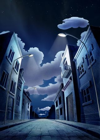 A quiet street in the city at night. Stock Photo - 202816