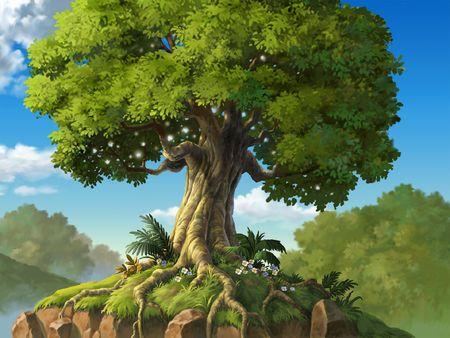 racines: Arbre avec des racines sur les rochers Banque d'images