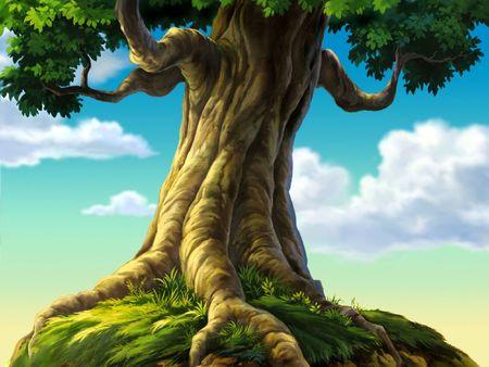feuille arbre: Arbre avec des racines de l'herbe  Banque d'images
