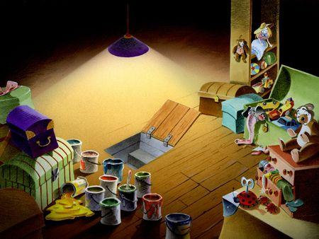 attic: Attic with Toys Stock Photo