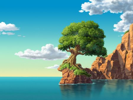 rugged: Tree on Island