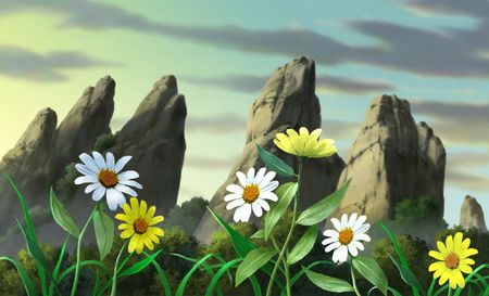 rugged: Rugged Mountain with Flowers
