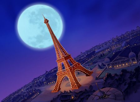 nights: Eiffel Tower with Moon Stock Photo