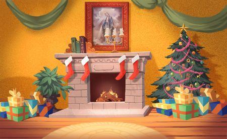 Christmas Fireplace Stock Photo