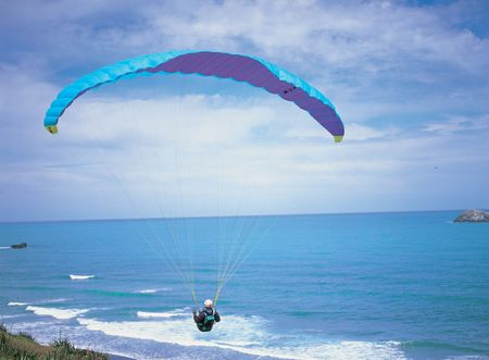 paraglide: Paraglide with Man Stock Photo