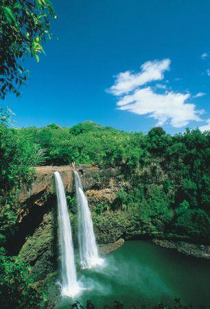Waterfall with Trees 版權商用圖片