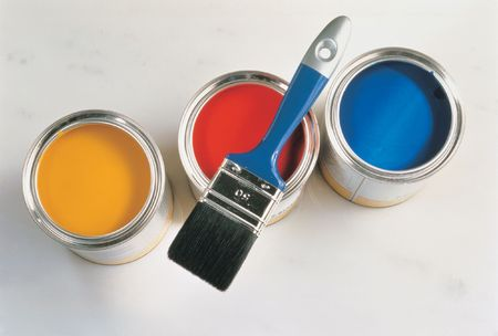 Paint and Brush Stockfoto