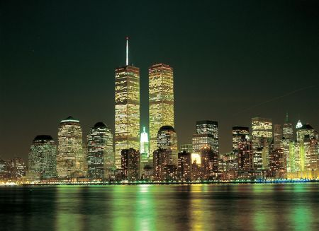 Twin Towers v noci Reklamní fotografie