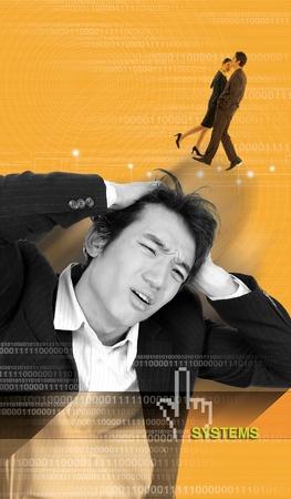 Tired korean Businessman Stock Photo