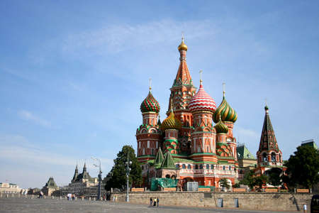 sights of moscow: st. basil cathedral in moscow, russia
