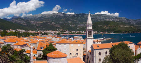 Panorama of old city in Budva, Montenegro photo