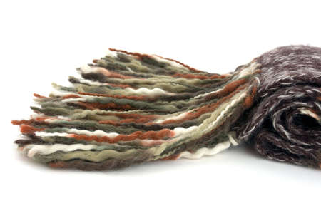 woolen cloth: A scarf made of woolen cloth, very warm and colourful.