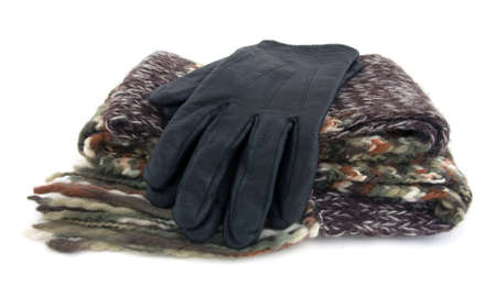 woolen cloth: A scarf made of woolen cloth and black gloves.